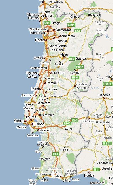 MAP KAART PORTUGAL - Portugal map silver coast